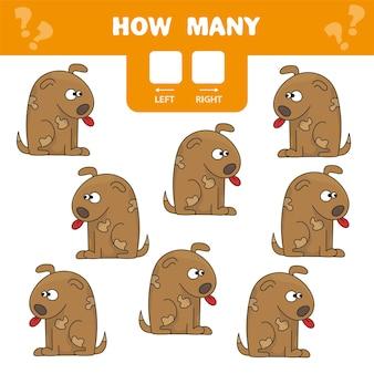Cartoon afbeelding van educatief spel van links en rechts tellen voor kinderen - grappige hond