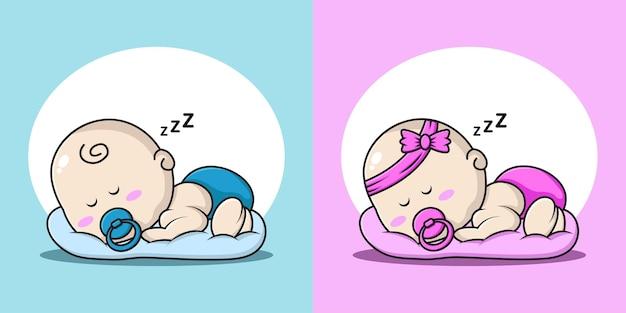 Cartoon afbeelding van een baby jongen en meisje slapen op een kussen