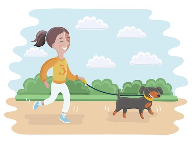 Cartoon afbeelding van een klein meisje dat haar hond meeneemt voor een wandeling in het park