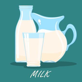 Cartoon afbeelding van een kruik, een glas en een fles melk