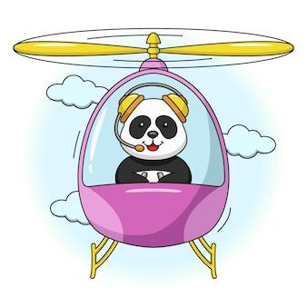 Cartoon afbeelding van een schattige panda die in een helikopter vliegt