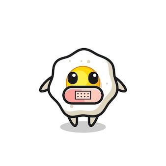 Cartoon afbeelding van gebakken ei met tape op mond, schattig stijlontwerp voor t-shirt, sticker, logo-element