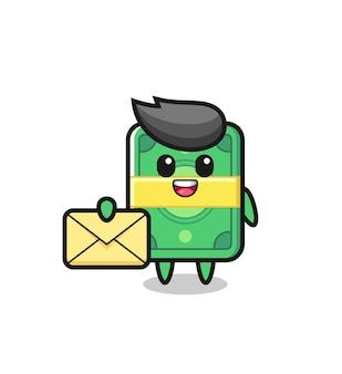 Cartoon afbeelding van geld met een gele letter, schattig stijlontwerp voor t-shirt, sticker, logo-element