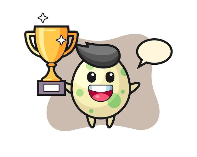 Cartoon afbeelding van gevlekt ei is blij met het omhoog houden van de gouden trofee, schattig stijlontwerp voor t-shirt, sticker, logo-element