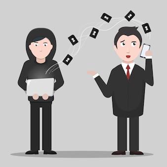Cartoon afbeelding van hacker geld afpersen van een zakenman. concept van internetbescherming en hacken.