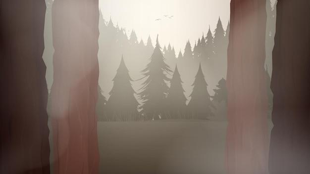 Cartoon afbeelding van het bos met trail.