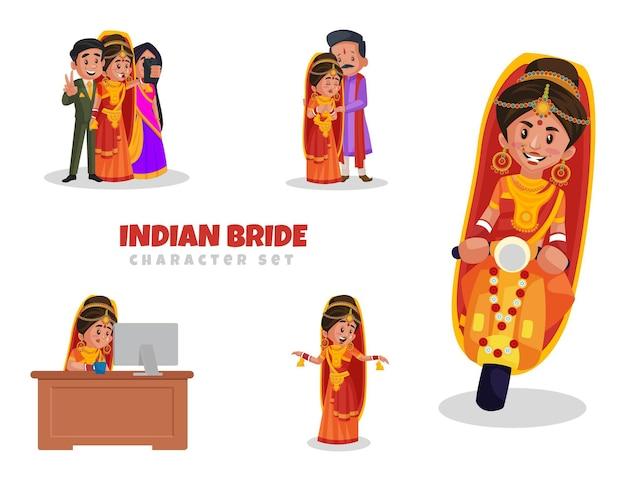 Cartoon afbeelding van indiase bruid tekenset
