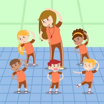 Cartoon afbeelding van kinderen in de klas lichamelijke opvoeding