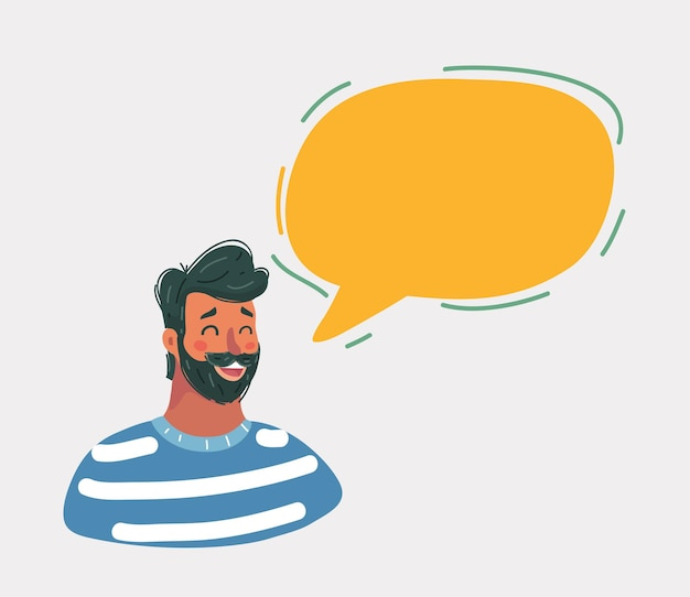 Cartoon afbeelding van knappe jonge man met baard gezicht met tekstballon en lachend op whtie achtergrond.