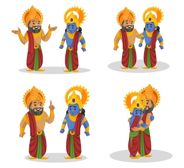 Cartoon afbeelding van koning dashrath en lord rama tekenset