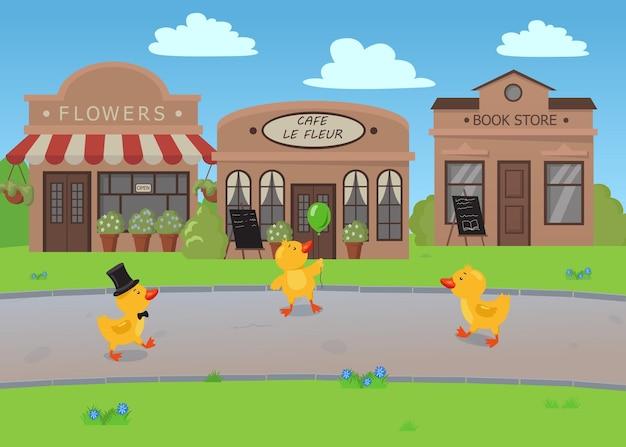 Cartoon afbeelding van kuikens met retro winkels op de achtergrond