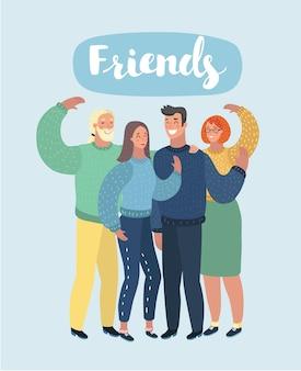 Cartoon afbeelding van lachende jonge vrienden knuffelen en zwaaien