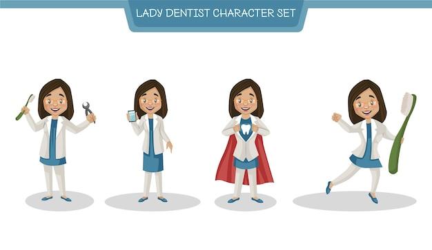 Cartoon afbeelding van lady dentist character set