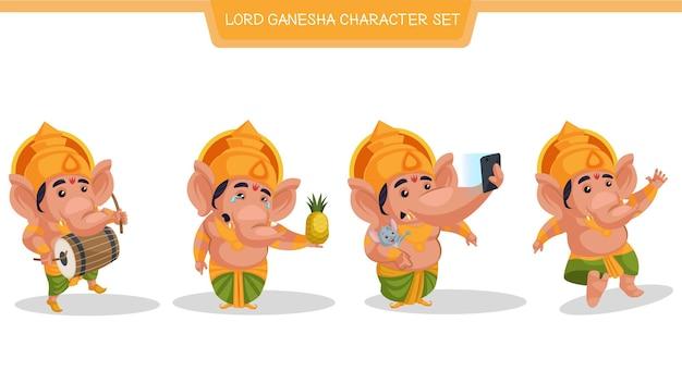 Cartoon afbeelding van lord ganesha character set