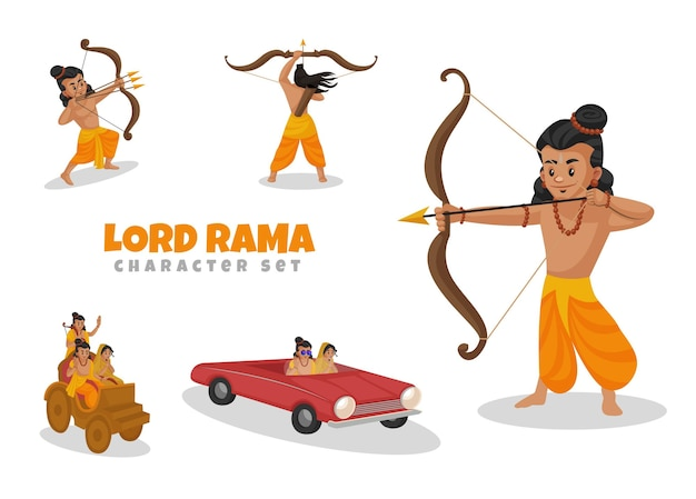 Cartoon afbeelding van lord rama character set