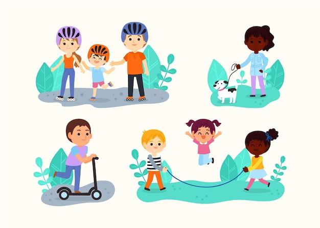 Cartoon afbeelding van mensen die buitenactiviteiten doen