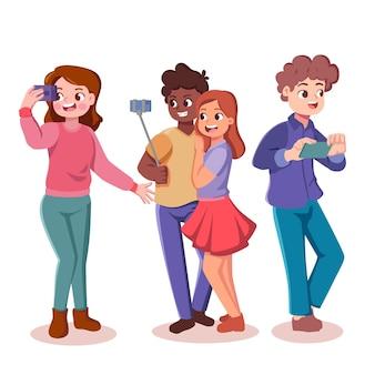 Cartoon afbeelding van mensen die foto's maken met smartphone