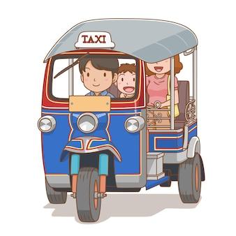 Cartoon afbeelding van mensen die reizen per tuk tuk
