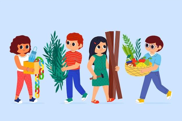 Cartoon afbeelding van mensen die sukkot . vieren