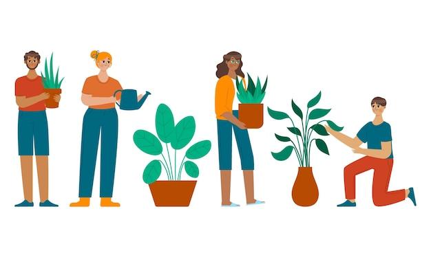 Cartoon afbeelding van mensen die voor planten zorgen