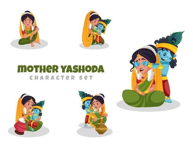 Cartoon afbeelding van moeder yashoda tekenset