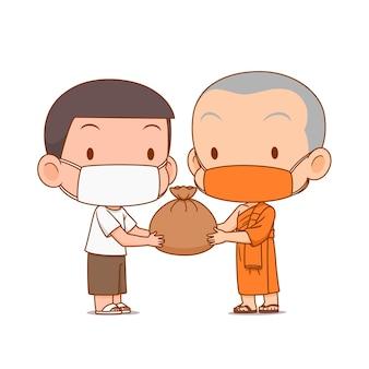 Cartoon afbeelding van monnik die overlevingstas geeft aan mensen die ze allebei een masker dragen