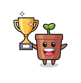 Cartoon afbeelding van plantenpot is blij met het omhoog houden van de gouden trofee, schattig stijlontwerp voor t-shirt, sticker, logo-element