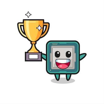 Cartoon afbeelding van processor is blij met het omhoog houden van de gouden trofee, schattig stijlontwerp voor t-shirt, sticker, logo-element