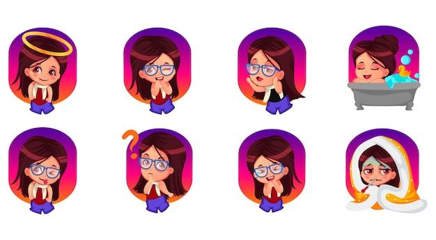 Cartoon afbeelding van schattig meisje sticker set