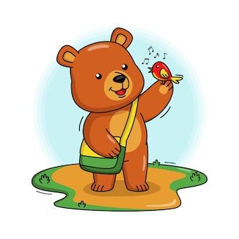 Cartoon afbeelding van schattige beer spelen met bird