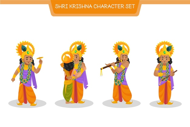 Cartoon afbeelding van shri krishna-tekenset