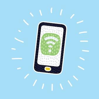 Cartoon afbeelding van smartphone met wifi-pictogram