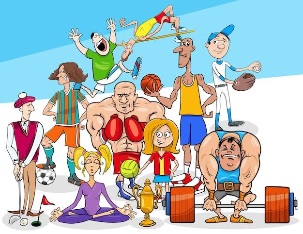 Cartoon afbeelding van sport disciplines personen personages group