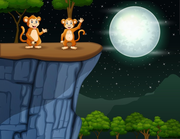 Cartoon afbeelding van twee apen zwaaien op de klif 's nachts