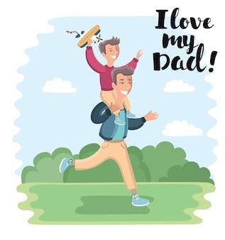 Cartoon afbeelding van vader draagt zoon zittend op zijn nek