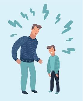 Cartoon afbeelding van vader zijn zoon uitbrander