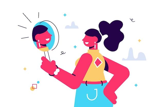 Cartoon afbeelding van vrouw kijken naar een spiegel en bewondert zichzelf