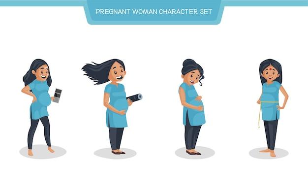 Cartoon afbeelding van zwangere vrouw tekenset