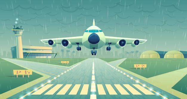 Cartoon afbeelding, witte passagiersvliegtuig, jet over start-en landingsbaan.