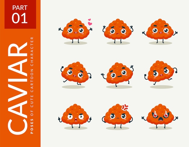 Cartoon afbeeldingen van kaviaar. instellen.