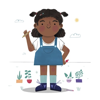 Cartoon afrikaans amerikaans meisje illustratie
