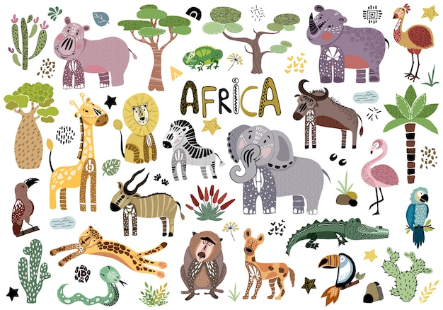 Cartoon afrikaanse dieren