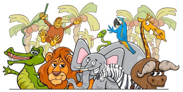 Cartoon afrikaanse safari wilde dieren groep