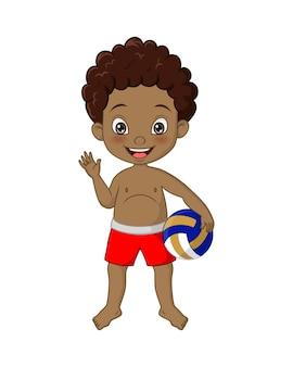 Cartoon afro-amerikaanse jongen met beachvolleybal zwaaiende hand