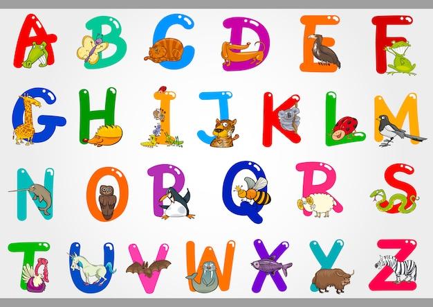 Cartoon alfabet met dieren illustraties