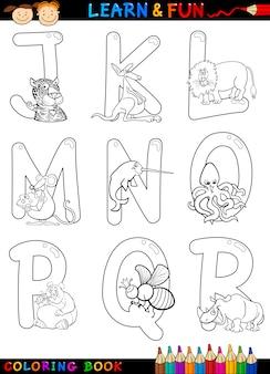 Cartoon alfabet met dieren om in te kleuren