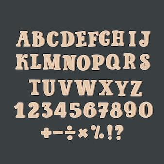 Cartoon alfabet van een reeks houten komische abc-letters en een reeks cijfers