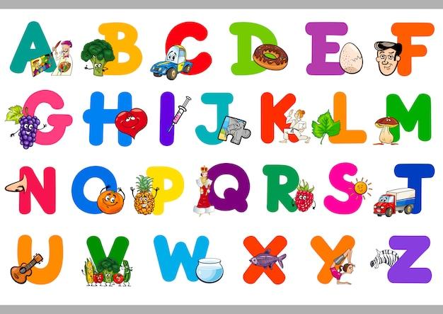 Cartoon alfabet voor kinderen
