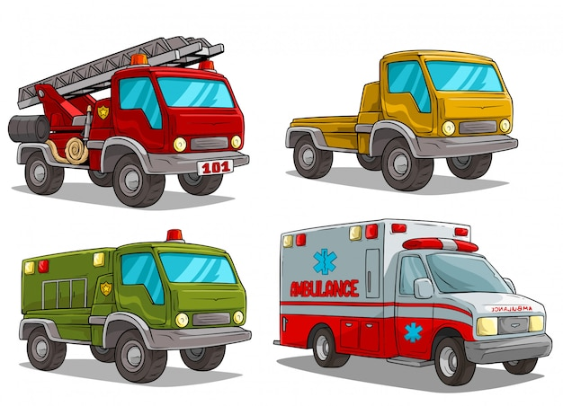 Cartoon ambulance brandweer en politie vrachtwagen