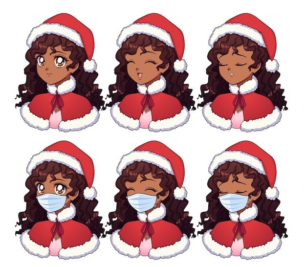 Cartoon amerikaans afrikaans meisje kerst kostuum en medische masker dragen